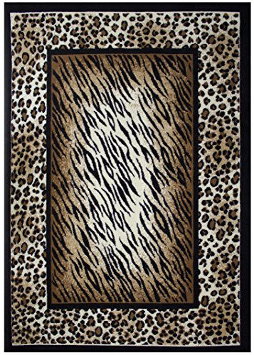 Rugs 4 Less Collection Leopard Tiger Skin Mix Animal Print Area Rug (5'X7') (Rug Leopard)
