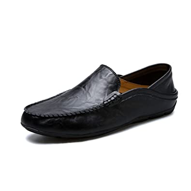 Men's Genuine Leather Casual Slip On Loafers Driving Shoes