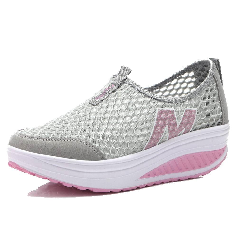 L LOUBIT Women Sneakers Comfort Slip On Wedges Shoes Breathable Mesh Walking Shoes For Women B076Z7F27C 7 B(M) = foot 9.45inch|Grey