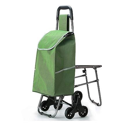 Carro Plegable portátil con Asiento, Escalador de Escalera de Mano utilitario