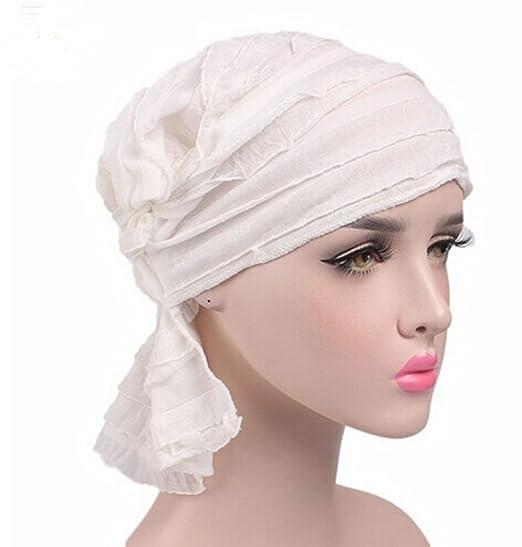 Chemo Cancer Head Scarf Hat Cap Ethnic Cloth Print Turban Headwear Women s  Ruffle Beanie Scarf ( e72d7332aca