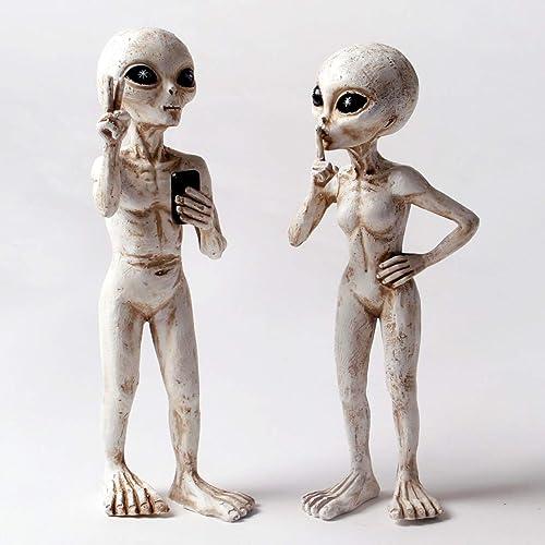 Alien Invasion Standing Alien Statues Peace Quiet 10 H UFO Extraterrestrial Figurine Garden Stakes Set Antique White