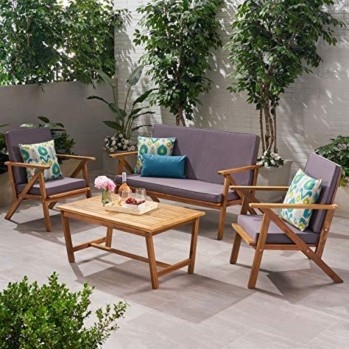 GDF Studio 300251 Manarola 4-Piece Outdoor Acacia Wood Chat Set | in Teak Finish/Grey