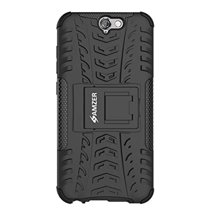 Amzer Hybrid Warrior Impact Resistant Case Cover for HTC One A9 - Black