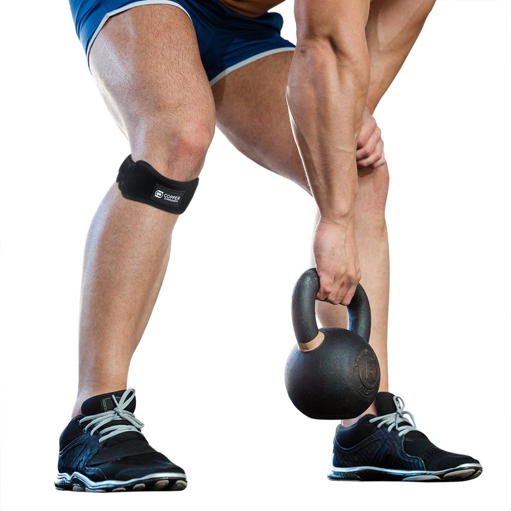 Copper Compression Patella Tendon Strap/Knee Support Brace. Copper Infused Patellar Runners & Jumpers Knee Stabilizer Band With Adjustability