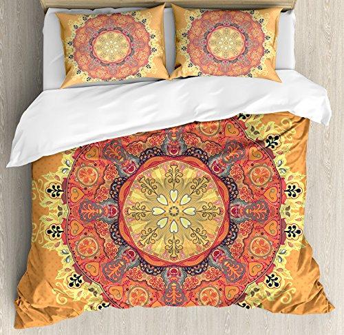 - Ambesonne Mandala Duvet Cover Set King Size, Floral Mandala Pattern Leaves Kaleidoscope Art Ethnic Theme Zen Inspired, Decorative 3 Piece Bedding Set with 2 Pillow Shams, Orange Yellow