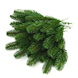Yarssir 25pcs Artificial Greenery Pine Needle Garland Pine Picks Christmas Holiday Home Decor, 9.4x4.7 inches(Green-25 Pack)