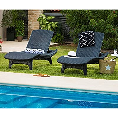 Keter Pacific 2-Pack All-Weather Adjustable Outdoor Patio Chaise Lounge Furniture, White