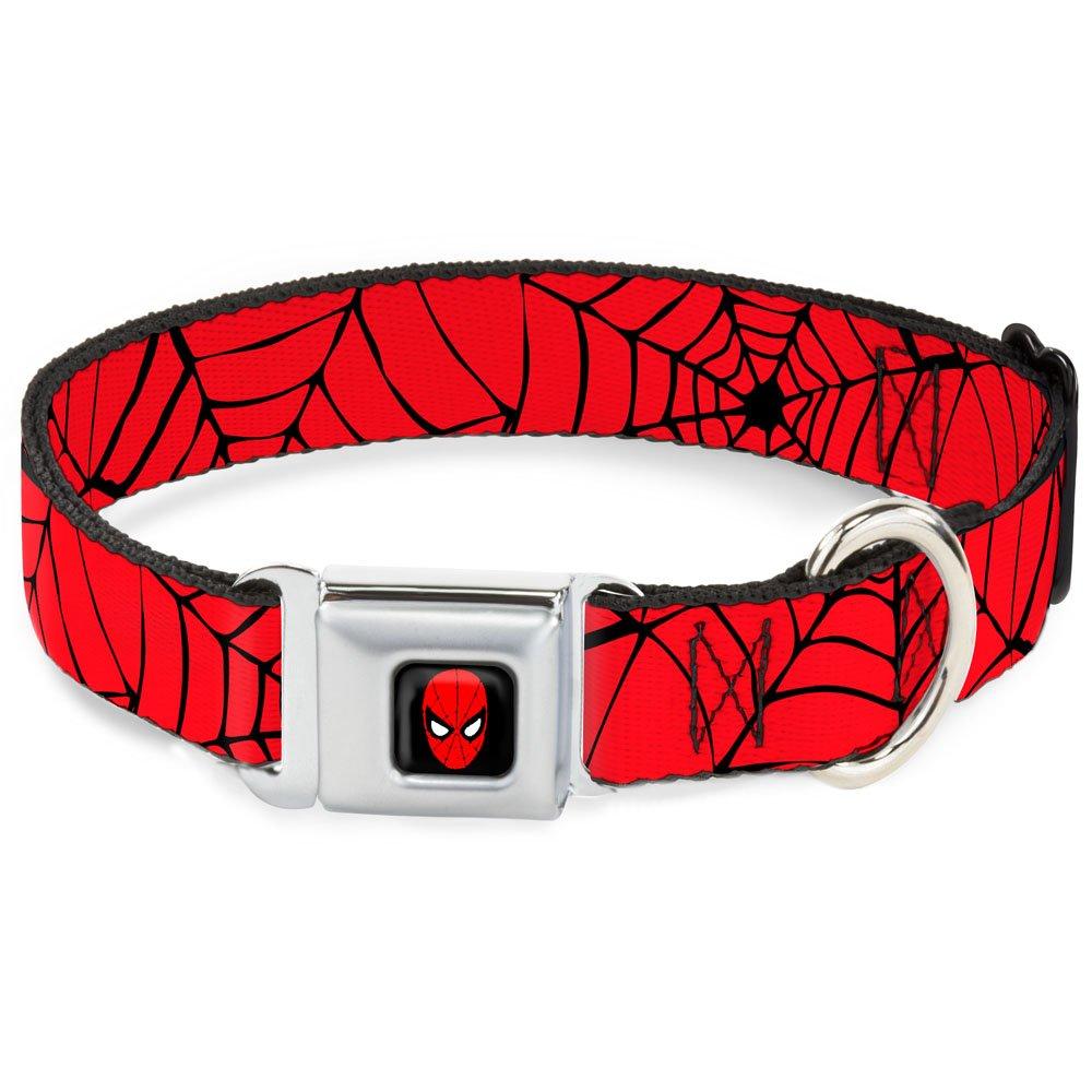 1.5\ Buckle-Down Seatbelt Buckle Dog Collar Spiderweb Red Black 1.5  Wide Fits 16-23  Neck Medium