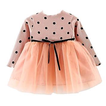 681e44000bac7 ZooArts ベビー服 子供服 ワンピース 女の子 プリンセスドレス 可愛い 水玉柄 長袖 春秋 ミニスカート チュール