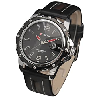 006c7986b Curren Men's watch set with black leather and interior color (black and  white)