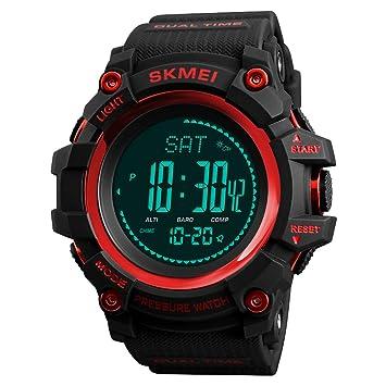 Baoblaze Reloj Deportivo Digital Rastreador de Fitness Altímetro Barómetro Compás - Rojo: Amazon.es: Juguetes y juegos