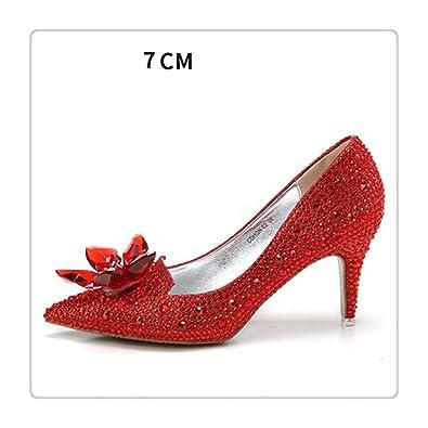buy popular 9bd65 14599 Amazon.com: Cinderella Glass Pointed high Heels Red Bottom ...