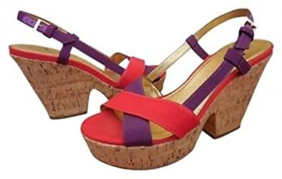 4a3737d50532 Image Unavailable. Image not available for. Color  Kate Spade Penny Cork  Wedge Sandals Shoes Red ...