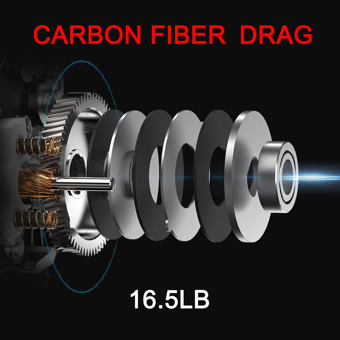 SeaKnight ELF II Baitcasting Reel. Super Light C45 Carbon Fiber Frame, Dual Magnetic and Centrifugal Brake System, 6.4 1 7.2 1 Retrieve Tournament Grade Casting Reel