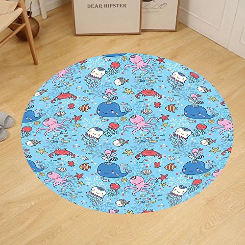 Gzhihine Custom round floor mat Underwater Marine Theme Cute Cartoon Sea Animals Octopus Jellyfish Aquarium Kids Room Decor Bedroom Living Room Dorm - Pa Stores Outlet Reading