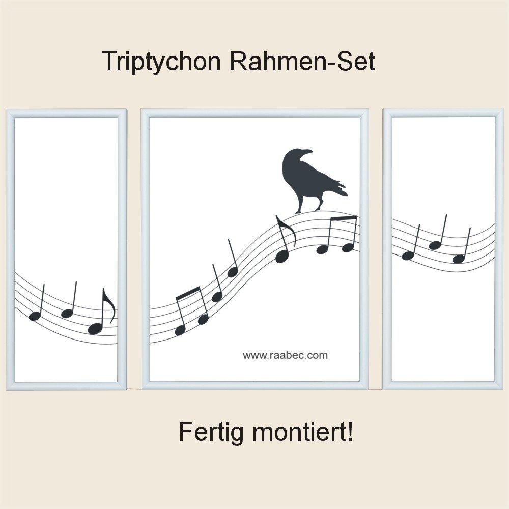 RAABEC Triptychon Bilderrahmen, Größe 50x80cm / 80x50cm Farbe Weiß ...