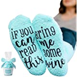 SUMAJU Cupcake Socks,Soft Feel If You Can Read This Bring Me Some Wine Funny Wine Socks with Cupcake Gift Wrap for Woman…