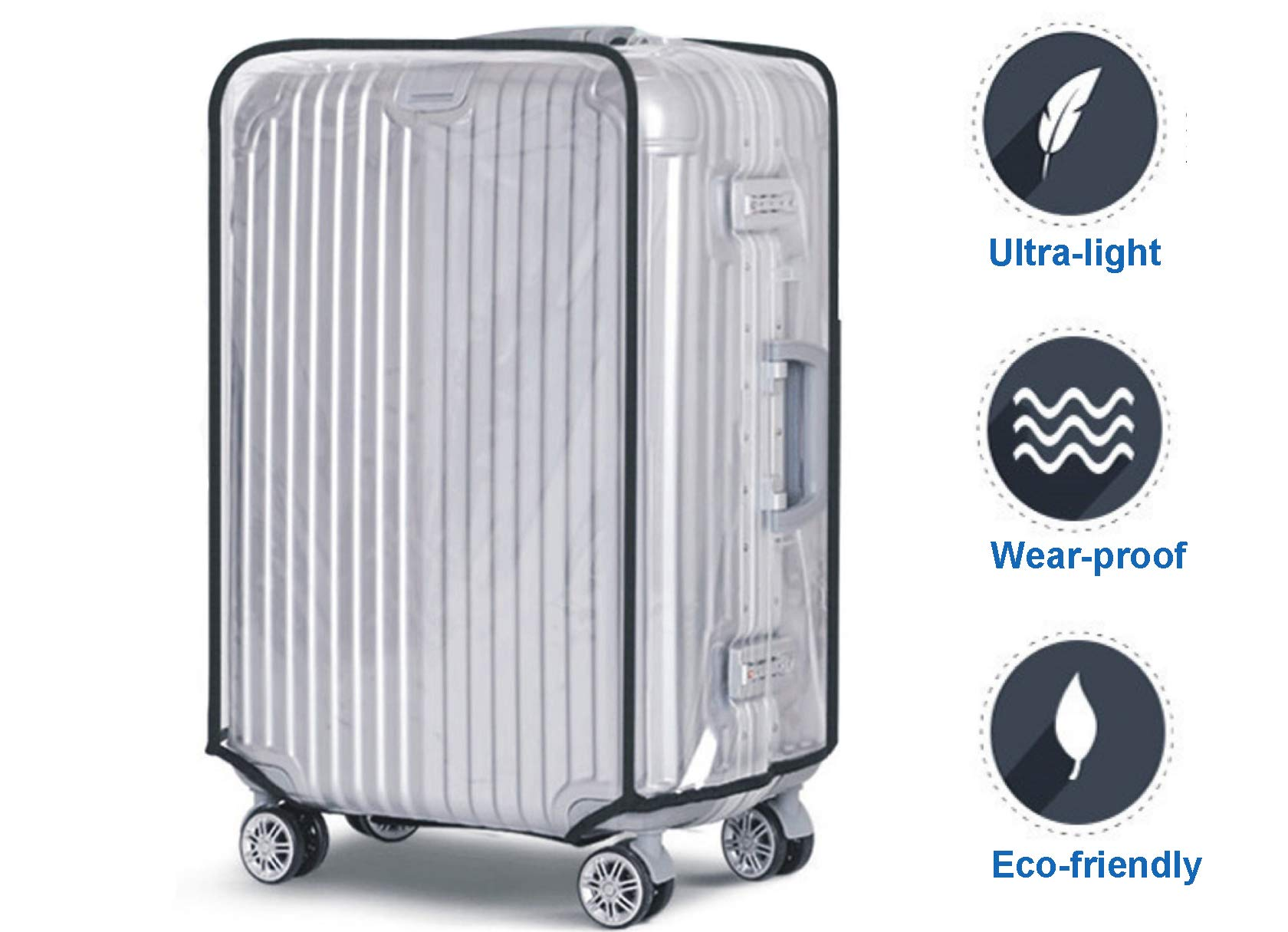 Luggage Cover, Clear PVC Luggage Suitcase Cover Travel Luggage Protector (22'') by HIGO MALL (Image #2)