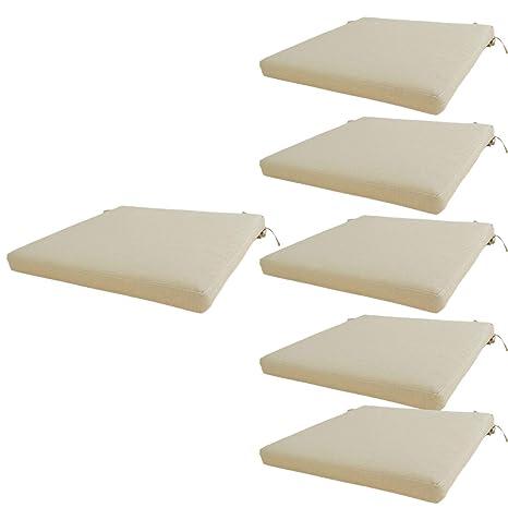 Edenjardi Pack 6 Cojines para sillas de jardín estándar Olefin Color Crudo | Tamaño 44x44x5 cm | No Pierde Color | Desenfundable | Portes Gratis