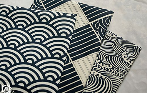 3pc Japanese Wave Style Cotton Fabric for Qualiting and Sweing DIY Fabric Project 40x 50cm Blue Worldcom Generic