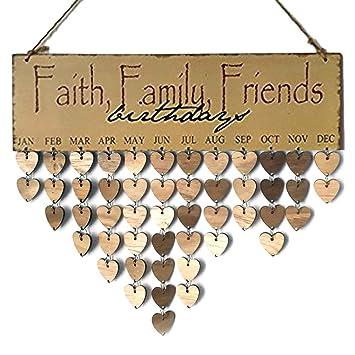 Amazoncom Flormoon Family Birthday Board Wooden Plaque Faith