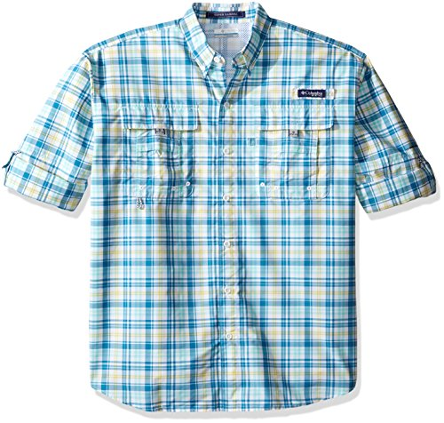 Columbia Sportswear Mens Super Bahama Long Sleeve Shirt, Deep Marine Multi Check, Small