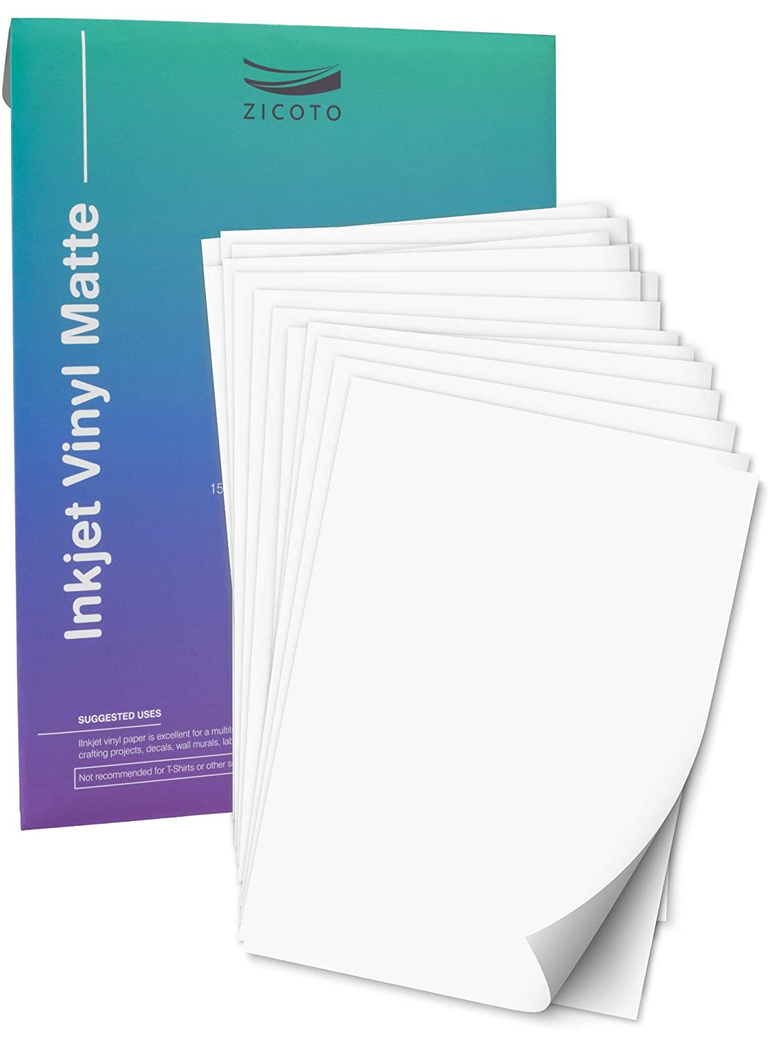 Premium Printable Vinyl Sticker Paper For Your Inkjet Printer 15 Matte White Waterproof Decal Paper Sheets Dries Quickly And Holds Ink Beautifully Amazon In Office Products
