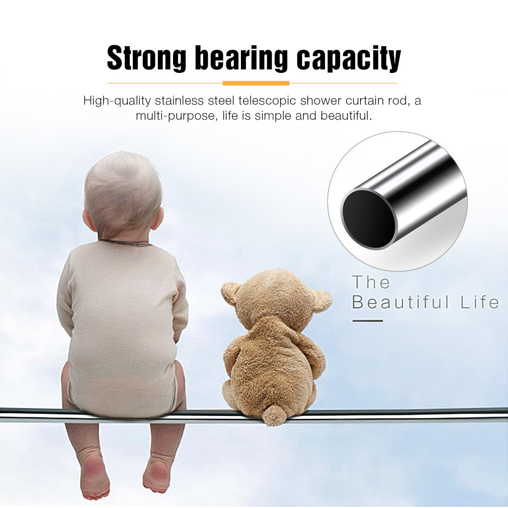 KINLO 110-200CM Telescopic Extendable Shower Curtain Rod Stainless Steel Coat Rack Rod with Sucker Hold Without Drilling for Cabinet//Bathroom