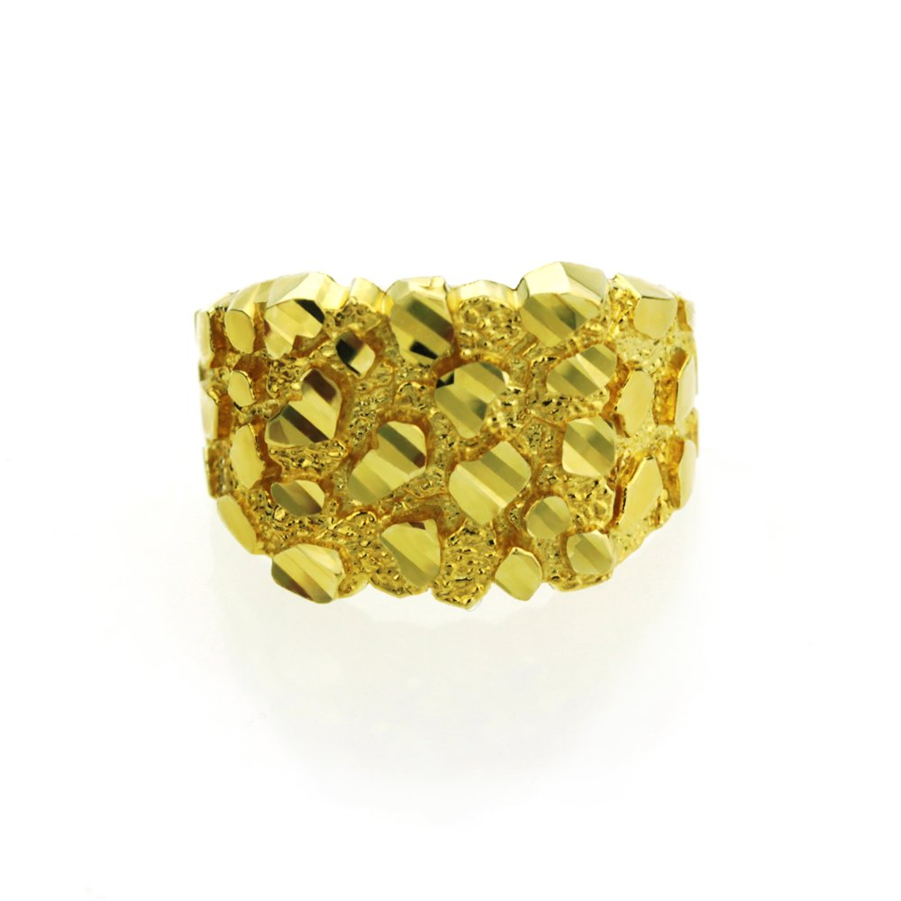 14K Yellow Gold 10mm Solid Nugget Ring (Size 1 to 5), 5 by Double Accent
