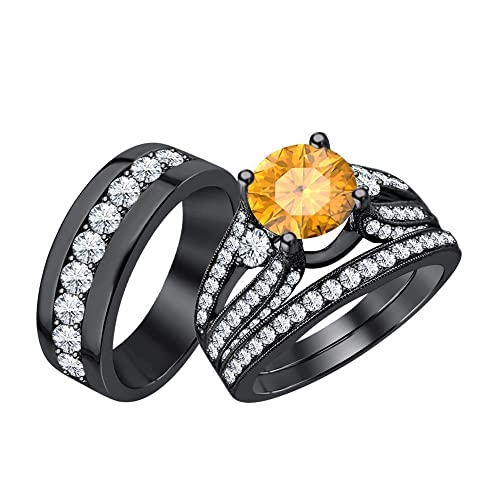 Women`s 3 Stone Orange Citrine /& CZ Diamond 14K White Gold Plated Engagement Wedding Ring