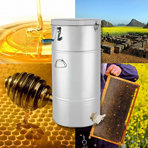 OrangeA Honey Extractor Bee Honey Extractor Manual Honeycomb Spinner 2 Two Frame Stainless Steel Beekeeping Accessory (2 Frame Honey Extractor)