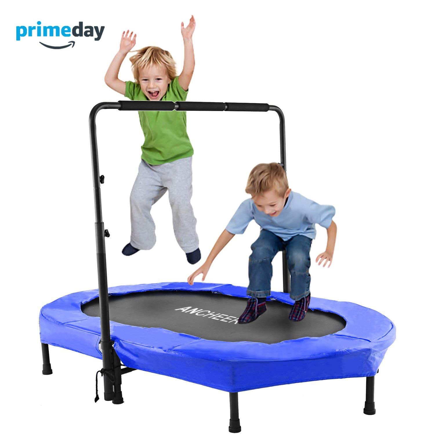 ANCHEER Mini Rebounder Trampoline with Adjustable Handle for Two Kids, Parent-Child Trampoline (Blue)