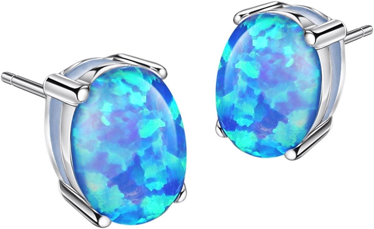Beautiful Oval Fire Blue Opal Set 925 Silver Necklace Pendant Earrings Ring