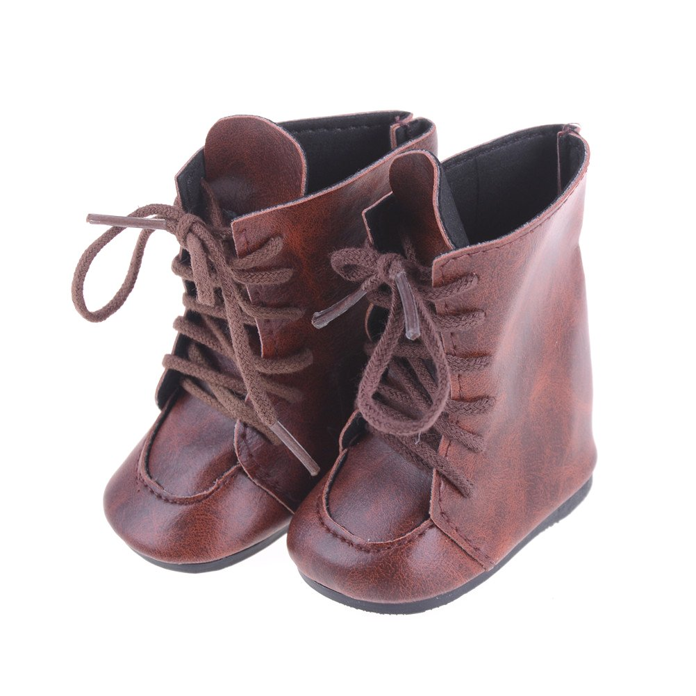 1 Pair Brown Lace Up Boots Shoes for 18inch American Girl Dolls Party Dress by TOYZHIJIA The glass Heart