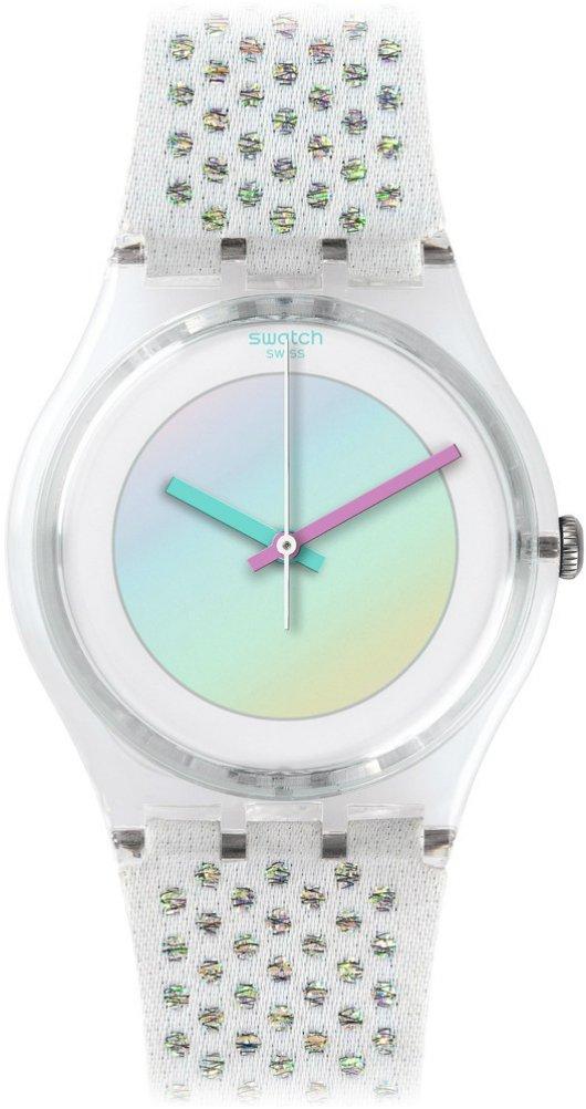 Swatch Girl's Gent GE246 Clear Suede Swiss Quartz Watch