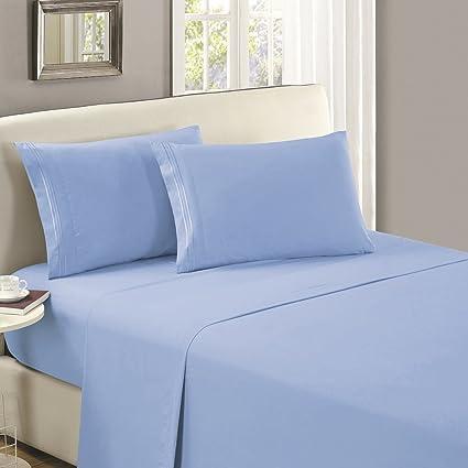 Mellanni Flat Sheet Queen Blue Hydrangea   HIGHEST QUALITY Brushed  Microfiber 1800 Bedding Top Sheet