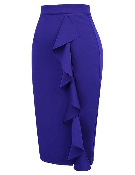 91e4d67eb8 GRACE KARIN Women's Ruffle Bodycon Knee Length Midi Pencil Skirt at Amazon  Women's Clothing store: