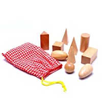 Momola Éducatif cognitive Toys 10pcs//set en bois Montessori Mystery sac géométrie blocs ensemble