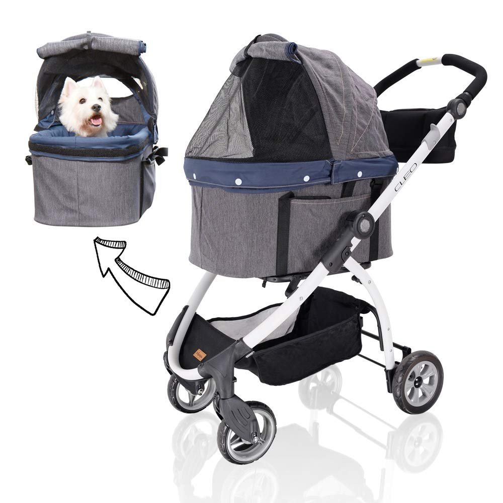 Ibiyaya Detachable Pet Carrier Stroller for Dogs and Cats 3-in-1 Travel Crate + Car Seat + Carriage Stroller in One,