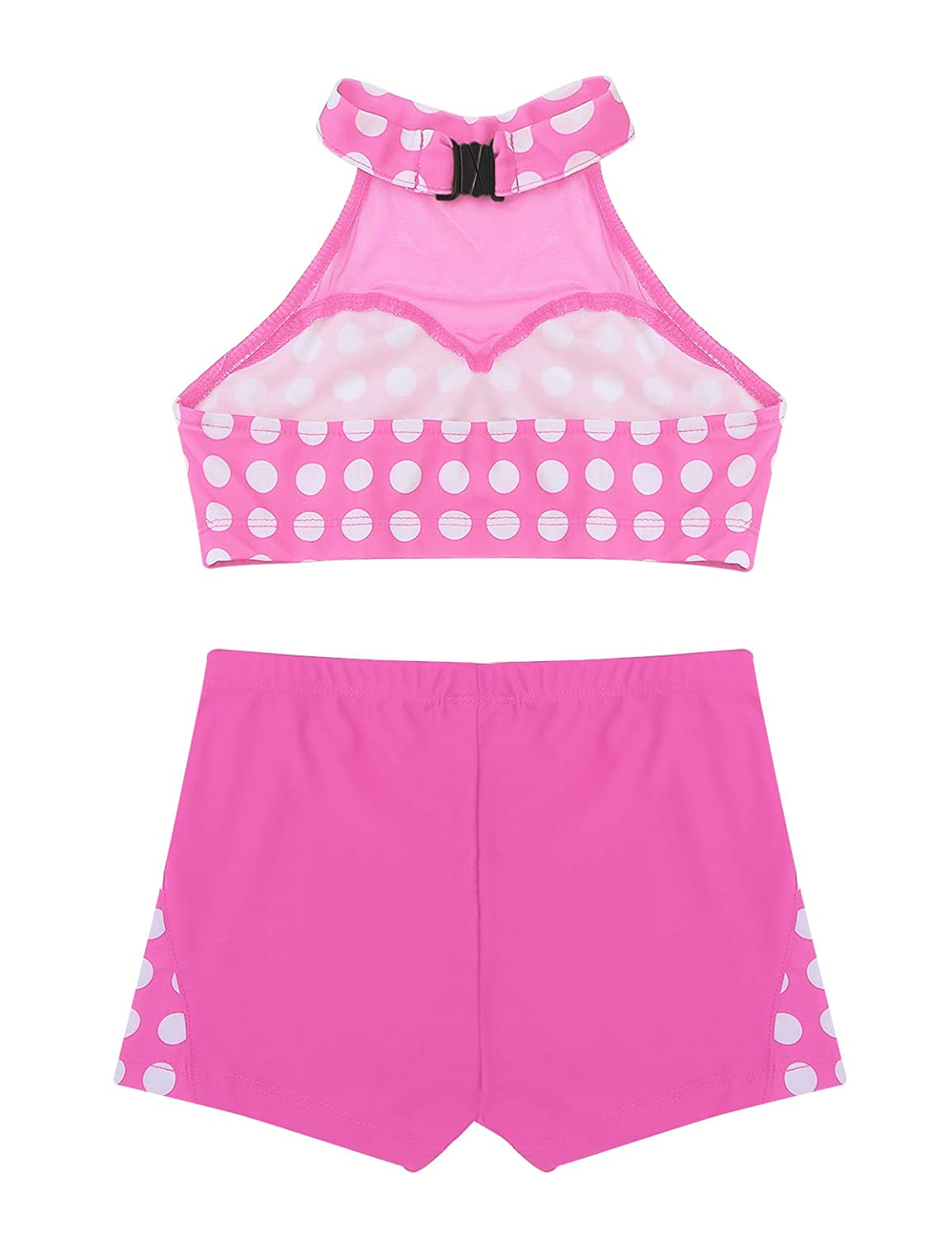 moily Kids Girls Athletic 2-Pieces Outfit Halter Polka Dot Crop Top with Booty Shorts Ballet//Dance//Sports