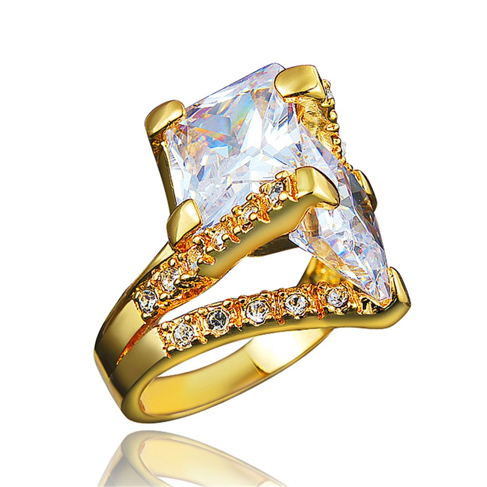 BLOOMCHARM 18K Gold Plated Cubic Zirconia Engagement Wedding Eternity Ring, Birthday Gifts for Women Girls (Gold, 9)