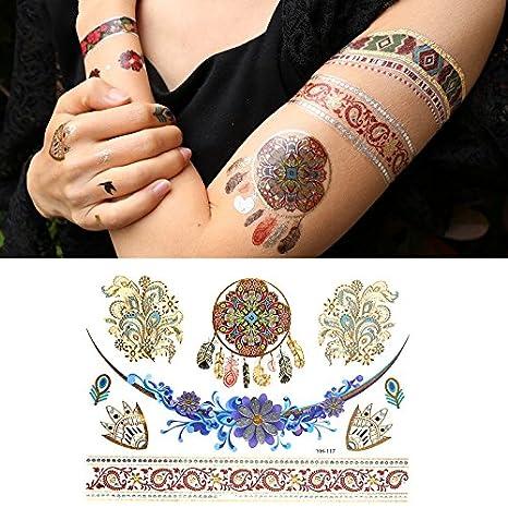 Oottati Tatuajes Temporales Dorados Metalicos Purpurina Collar De ...