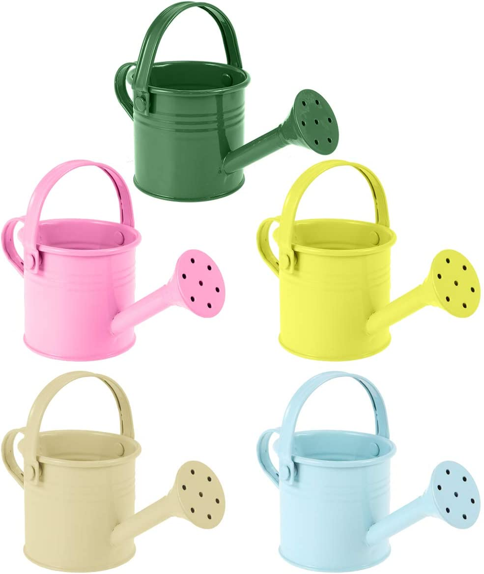 Hemoton Metal Watering Can, 5pcs Simple Kids Watering Can, Children Garden Watering Bucket Iron Watering Tin Can Sprinkling Kettle for Garden Plants Flower 5.9x2.95x2.95 in (Mixed Color)