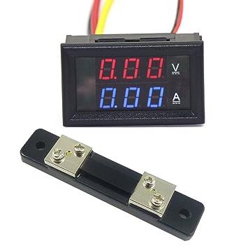 Voltmeter Amperemeter Blaue und rote LED Dual Digital Volt Amp-Meter Anzeige