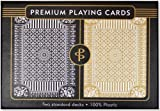 Black & Gold Premium Plastic Playing Cards, Set of