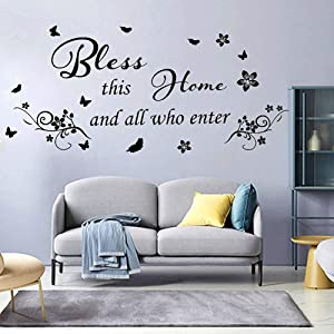 Wall Stickers for Living Room Wall Decor Kitchen Quote Bless This Home and All Who Enter Kitchen Vinyl Wall Quote Art Dining Room Entryway and Bedroom Wall Decal Home CASADECOR.