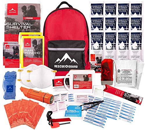 Rescue Guard First Aid Kit Hurricane Disaster Earthquake Emergency Survival Bug Out Bag Supplies Families - up to 12 Day Multi Person 72 Hours (Intermediate Survival Pack)