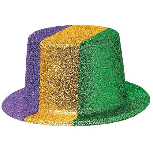 [Amscan Mardi Gras Glitter Top Hat (1 Piece), Multi Color, 11.1 x 9.7
