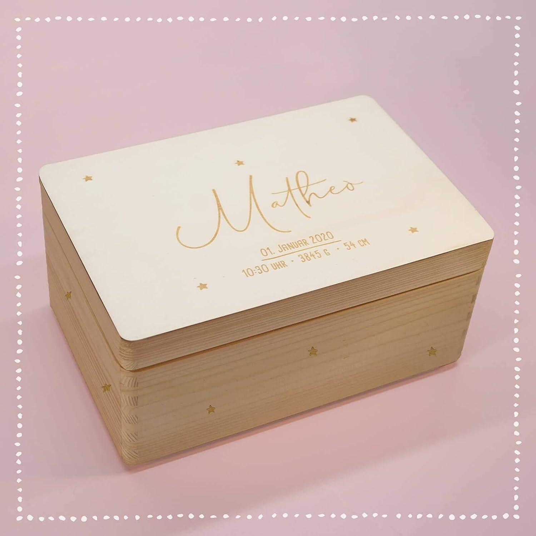 Personalisierte Erinnerungsbox Box Aufbewahrungsbox Erinnerungskiste mit Namen Holzkiste f/ür Kinder Geschenkbox Junge M/ädchen Sternenhimmel Weihnachten Geburtstagsgeschenk Einschulung hellomini